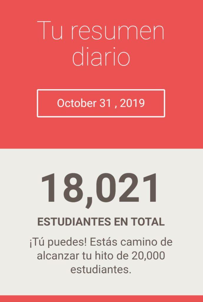 Diez y ocho mil alumnos mes de octubre  en udemy Jairo Galeas