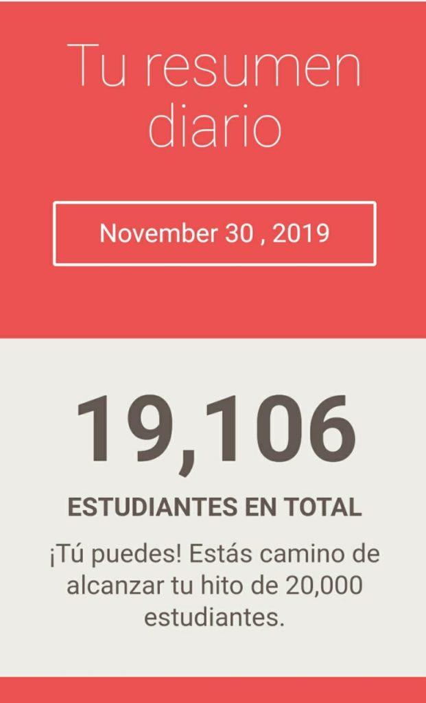 Noviembre diez y nueve mil estudiantes
